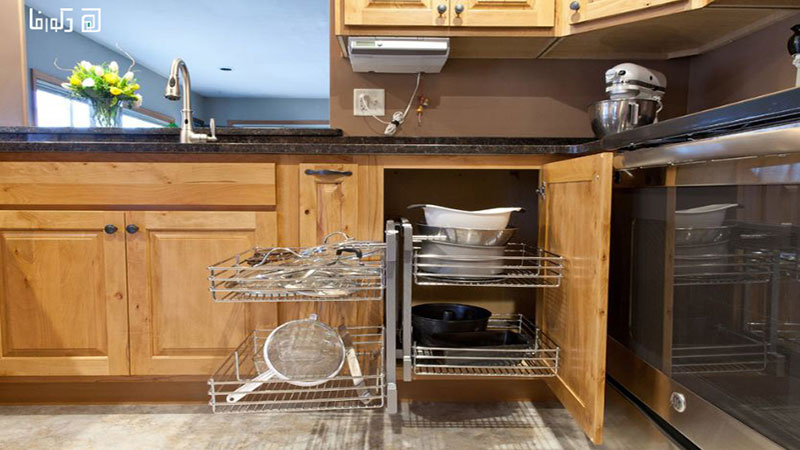 قفسه بندی زیر سینک ظرفشویی با محفظه فولادی و سیمی