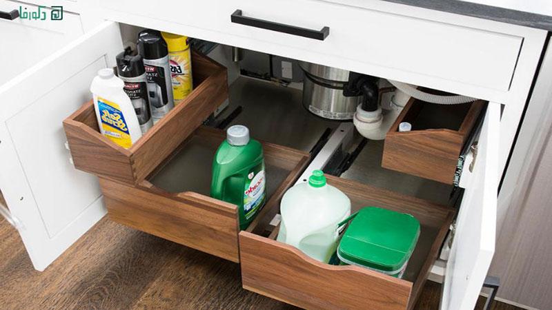 قفسه بندی زیر سینک ظرفشویی چوبی