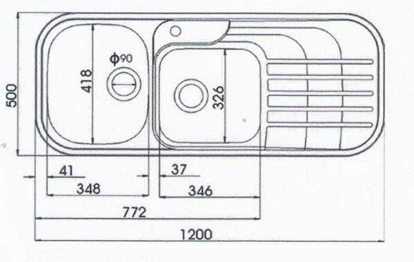 اندازه سینک اخوان مدل 72
